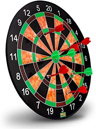 BLUE SPACE Magnetic Dartboard Set with 6 Darts - 15 Inch Dart Board - Safe for Kids and Adults - Gift for Game Room, Office, Man Cave and Parties (Multi Color)