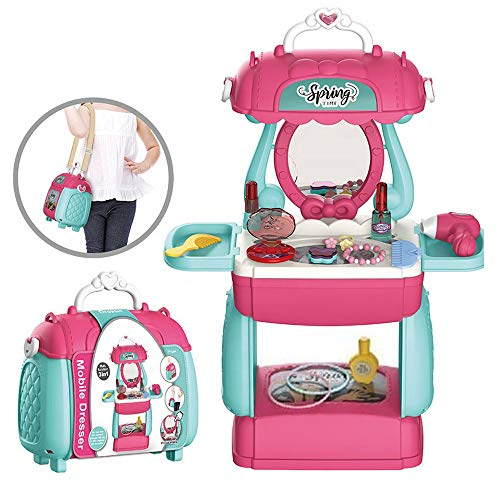 Krishna Shopping Mobile Dresser Beauty Make Up Suitcase, Durable Kit Hair Dryer, Lipstick Necklece, & Accessories with Best Girl Gifts
