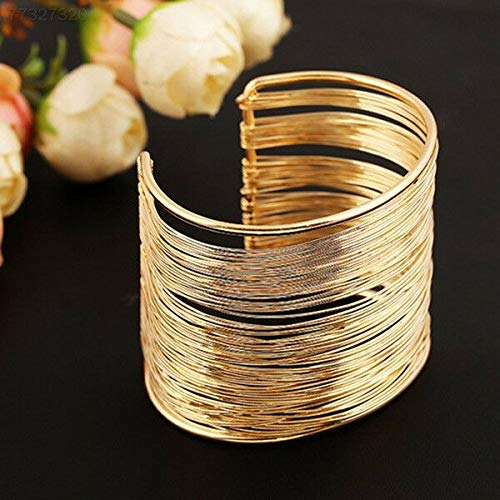 ELECTROPRIME A489 Fashion New Unisex Women Men Gold Tone Multi-line Polyline Bangle Bracelet