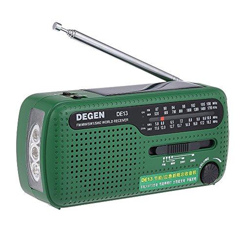 Docooler Degen DE13 FM Radio FM MW SW World Bank Receiver Flashlight Cranker Dynamic Solar Power Supply Solar Emergency Radio w/Cell Phone MP3 MP4 Charger for Outdoor Activities