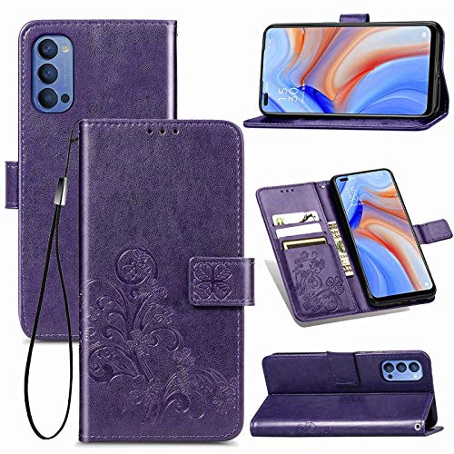 TANNGDIFNJAUN Cell Phone Cases for Oppo Reno4 4G Four-Leaf Clasp Embossed Buckle Mobile Phone Protection Leather Case with Lanyard & Card Slot & Wallet & Bracket Function Phone Cover