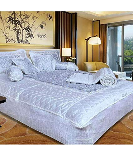 Jaipurwala Stain BeddingSet 8 : Pcs Silk Beddingset 1 Double Bed Bedsheet :: 2 Pillow Cover:: 1 Double Bed AC Comforter