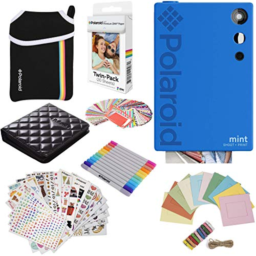 Polaroid Mint Instant Digital Camera (Blue) Gift Bundle + Paper (20 Sheets) + Deluxe Pouch + 9 Fun Sticker Sets + Twin Tip Markers + Photo Album + Hanging Frames + 100 Sticker Frame Set