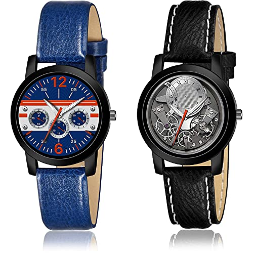 NIKOLA Luxury Analogue Blue and Grey Color Dial Women Watch - (18-L-7)-(9-L-3) (Pack of 2)