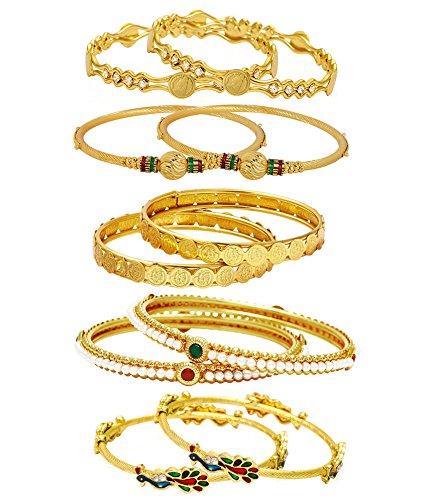 Jewels Galaxy Combo of Designer Victoria Bangles, Mayur Bangles, Pearls Bangles and Coinage Bangles - Pack of 10 (JG-CB-KBN-922_1)
