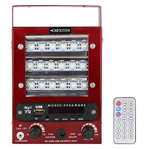 Bexton Barsana LED Torch USB/AUX/Card Reader/Remote FM Radio (Red)