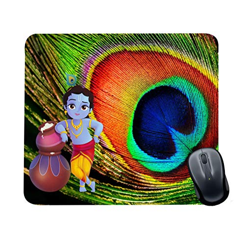 Family Shoping New Year Gifts Item Office Printed Bal Krishna Mousepad for Computer, PC, Laptop, Green