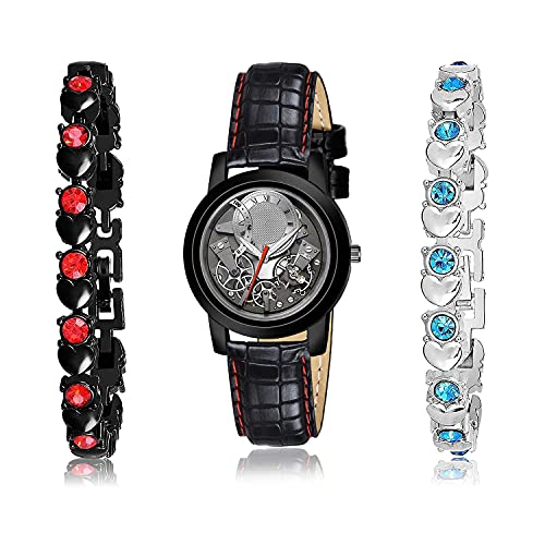 NEUTRON Rich Bracelet and Watch Combo Analogue Grey,Black and Silver Color Dial Women Watch - (9-L-4)-GX1-GX3 (Pack of 3)