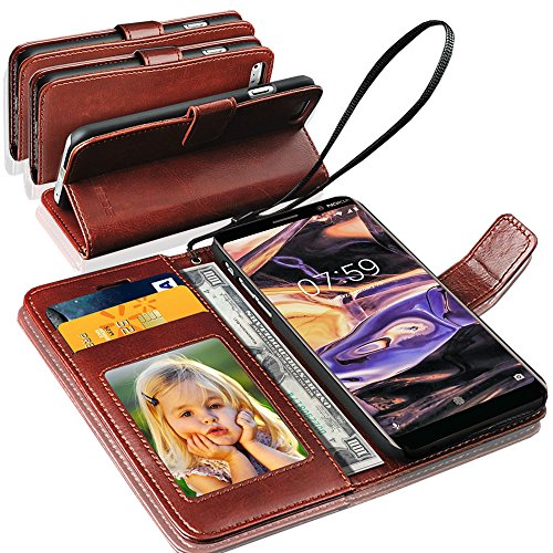 GBOS Rich Leather Stand Wallet Flip Case Cover Book Pouch Phone Bag Antique Leather for Nokia 7 Plus Brown