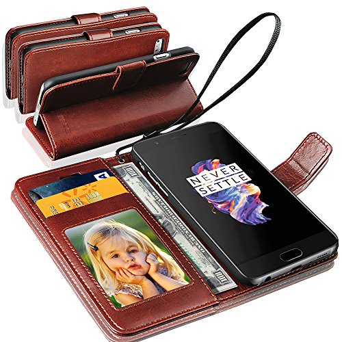 GBOS Rich Leather Stand Wallet Flip Case Cover Book Pouch Phone Bag Antique Leather for OnePlus 6 Brown