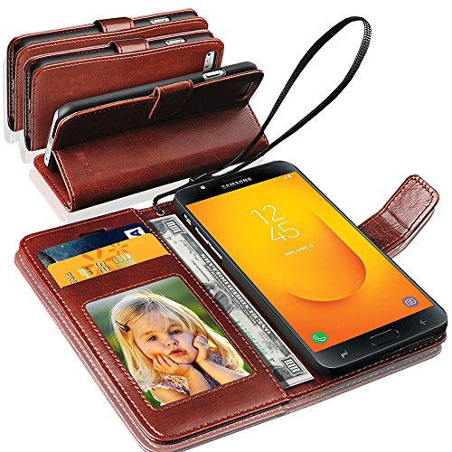 GBOS Rich Leather Stand Wallet Flip Case Cover Book Pouch Phone Bag Antique Leather for Samsung Galaxy J7 Duo (2018) Brown
