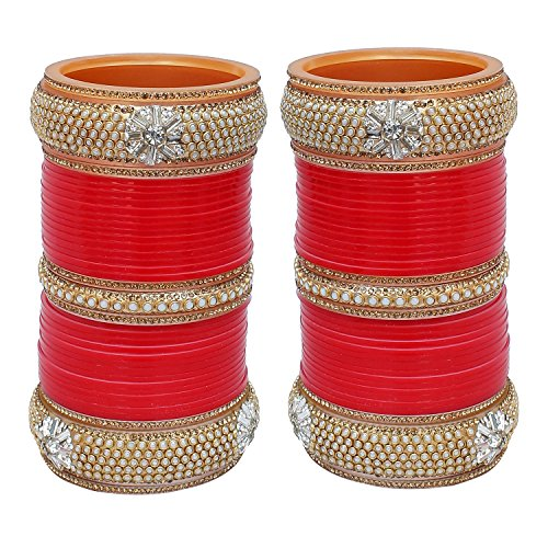 Lucky Jewellery Red Bridal White Pearl & Golden Stone Chura Bangle Set for Women (1865-M1C1-ALISHA-R26)