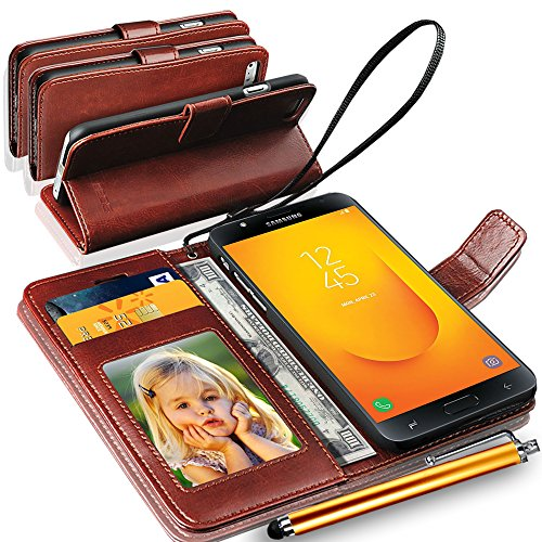 N+ INDIA Rich Leather Stand Wallet Flip Case Cover Book Pouch Phone Bag Antique Leather for Samsung Galaxy J7 Duo (2018) with Big Touch Stylus Pen Brown