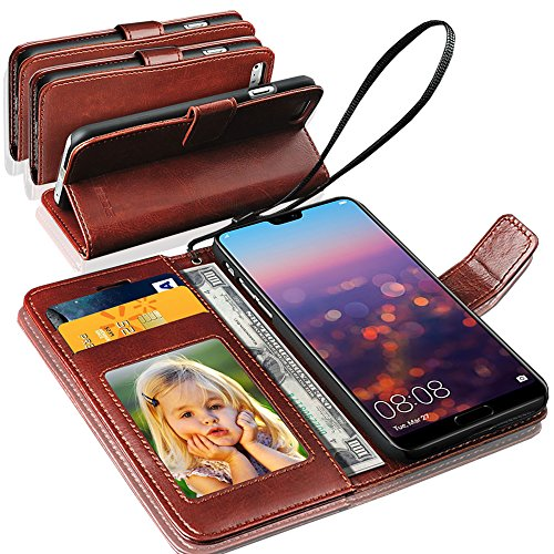 GBOS Rich Leather Stand Wallet Flip Case Cover Book Pouch Phone Bag Antique Leather for Huawei P20 Pro Black