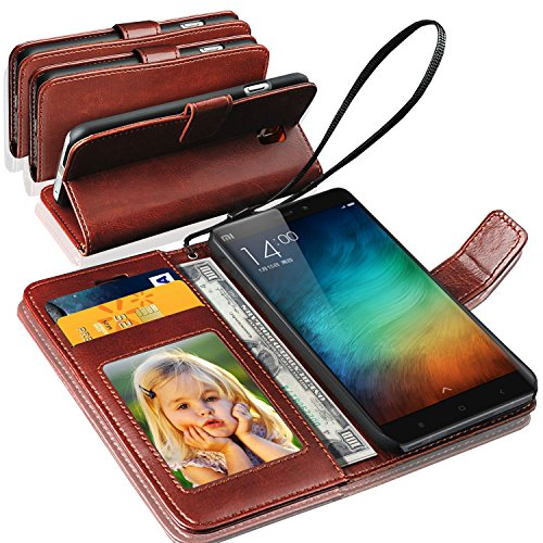 GBOS Rich Leather Stand Wallet Flip Case Cover Book Pouch Phone Bag Antique Leather for Xiaomi Redmi 5 Brown