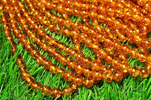 YUGNA Natural Amber 8 mm Round Smooth Beads 13 inch Long Strand/Round Amber Beads/Smooth Amber Beads for DIY Jewelry
