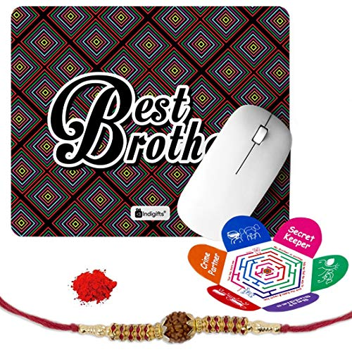 Indigifts Rakshabandhan Gifts for Brother Best Bro Printed Mouse Pad 8.5x7 inches, Rudraksha Rakhi, Roli & Greeting Card - Rakhi for Brother with Gifts, Raksha Bandhan Gifts, Rakhi Gifts for Brother