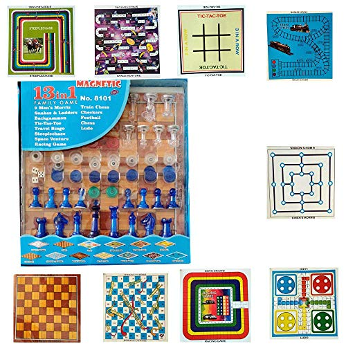 hl 13 in 1 Magnetic Ludo Chess Snacks and Ladders Set Board Game