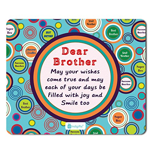 Indigifts Rakhi Gifts for Brother Bro May All Your Wishes Come True Quote Printed Blue Mouse Pad 8.5x7 inches - Rakshabandhan Gifts for Brother, Birthday Gift for Brother, Raksha Bandhan Gifts