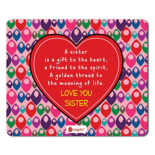 Indigifts Rakshabandhan Gifts for Sister Sis a Gift to Heart & a Golden Thread to Meaning of Life Quote Printed Pink Mousepad 8.5x7 inches - Rakhi Gifts for Sister, Rakshabandhan Gifts Special