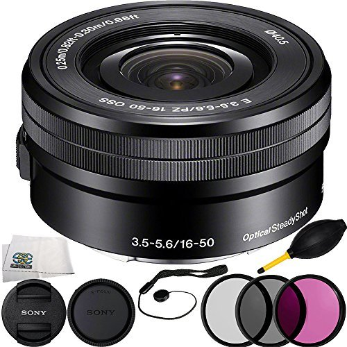 SSE Sony SELP1650 16-50mm Power Zoom Lens (White Box) + 6PC Bundle Includes 3 Piece Filter Kit (UV-CPL-FLD) + Cap Keeper + Lens Dust + Microfiber Cleaning Cloth