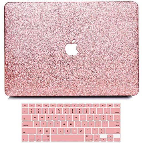 """BELK-MacBook Pro 13"""" with Retina Display Case,2 in 1 Bling Crystal Smooth Ultra-Slim Light Weight PC Hard Case with Keyboard Cover for MacBook Pro 13"""" with Retina(Model:A1502/A1425)- Rose Golden"""