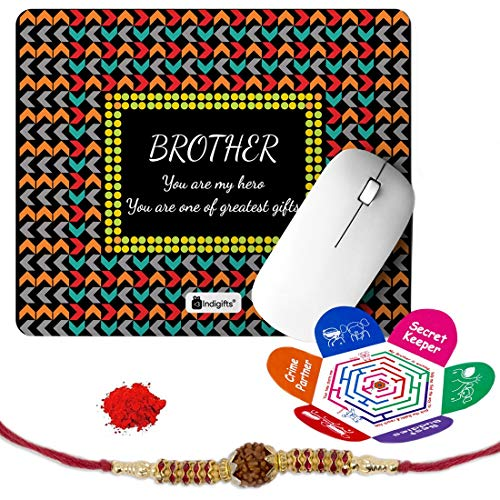 Indigifts Rakshabandhan Gifts for Brother My Hero One of the Greatest Gifts Printed Mouse Pad 8.5x7 inches, Rudraksha Rakhi, Roli & Greeting Card - Rakhi for Brother with Gifts, Raksha Bandhan Gifts, Rakhi Gifts for Brother