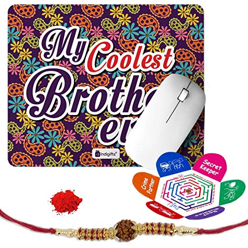 Indigifts Rakshabandhan Gifts for Brother My Coolest Brother Ever Printed Mouse Pad 8.5x7 inches, Rudraksha Rakhi, Roli & Greeting Card - Rakhi for Brother with Gifts, Raksha Bandhan Gifts, Rakhi Gifts for Brother