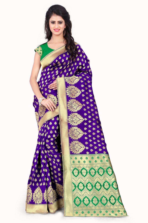 taboodyempire Fantastic Purple & Green Banarasi Silk Kanjivaram Work Ideal Saree