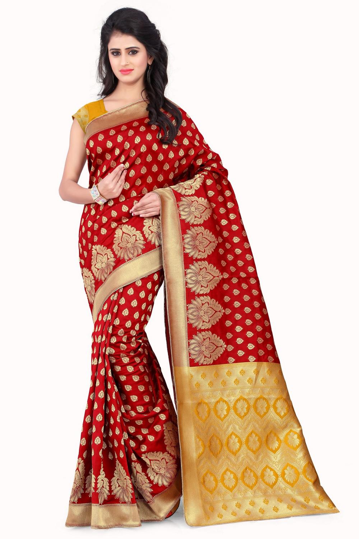 taboodyempire Popular Red & Light Yellow Banarasi Silk Kanjivaram Work Ideal Saree