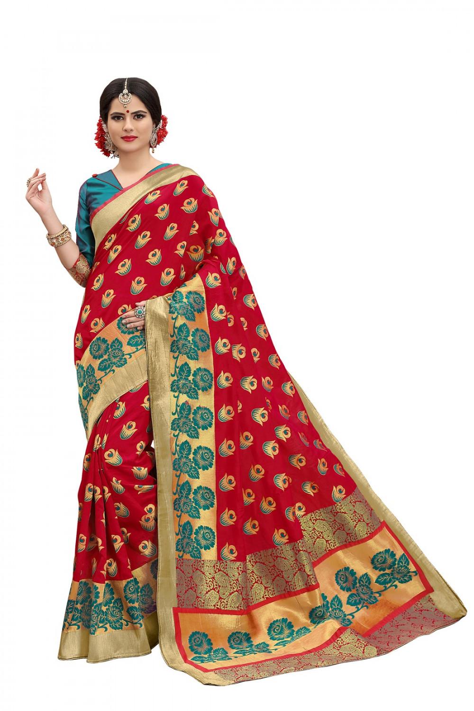 taboodyempire Imperial Sea Green & Red Banarasi Silk Kanjivaram Work With Lovely Saree