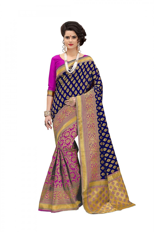 taboodyempire Imperial Navy Blue & Purple Banarasi Silk Kanjivaram Work With Lovely Saree
