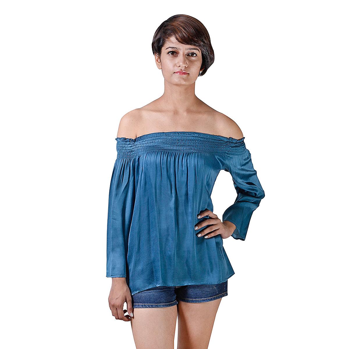 Istri Women's Rayon Satin Blue Off Shoulder