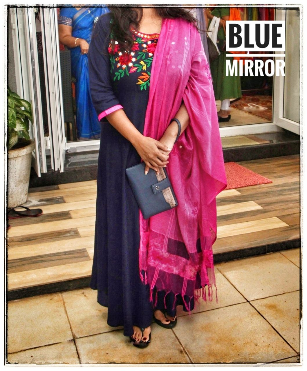 suneharifashions Designer Stylish Bluish Pink Rayon Real Mirror Suit With Full Neck Embroidery
