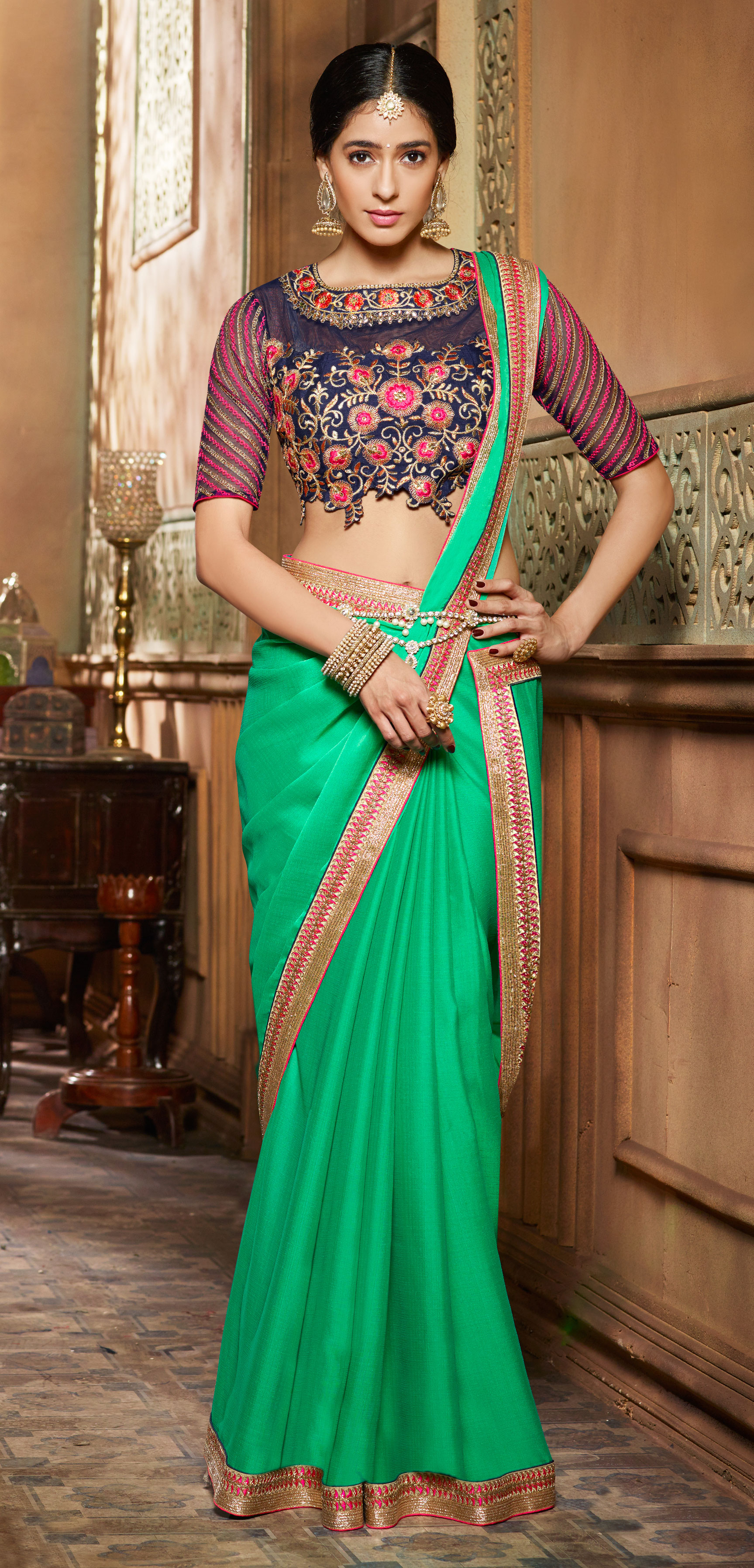 ralsaree Real Saree Women's Green Kabali Two Tone Self Pattern Embroidered Saree With Blouse
