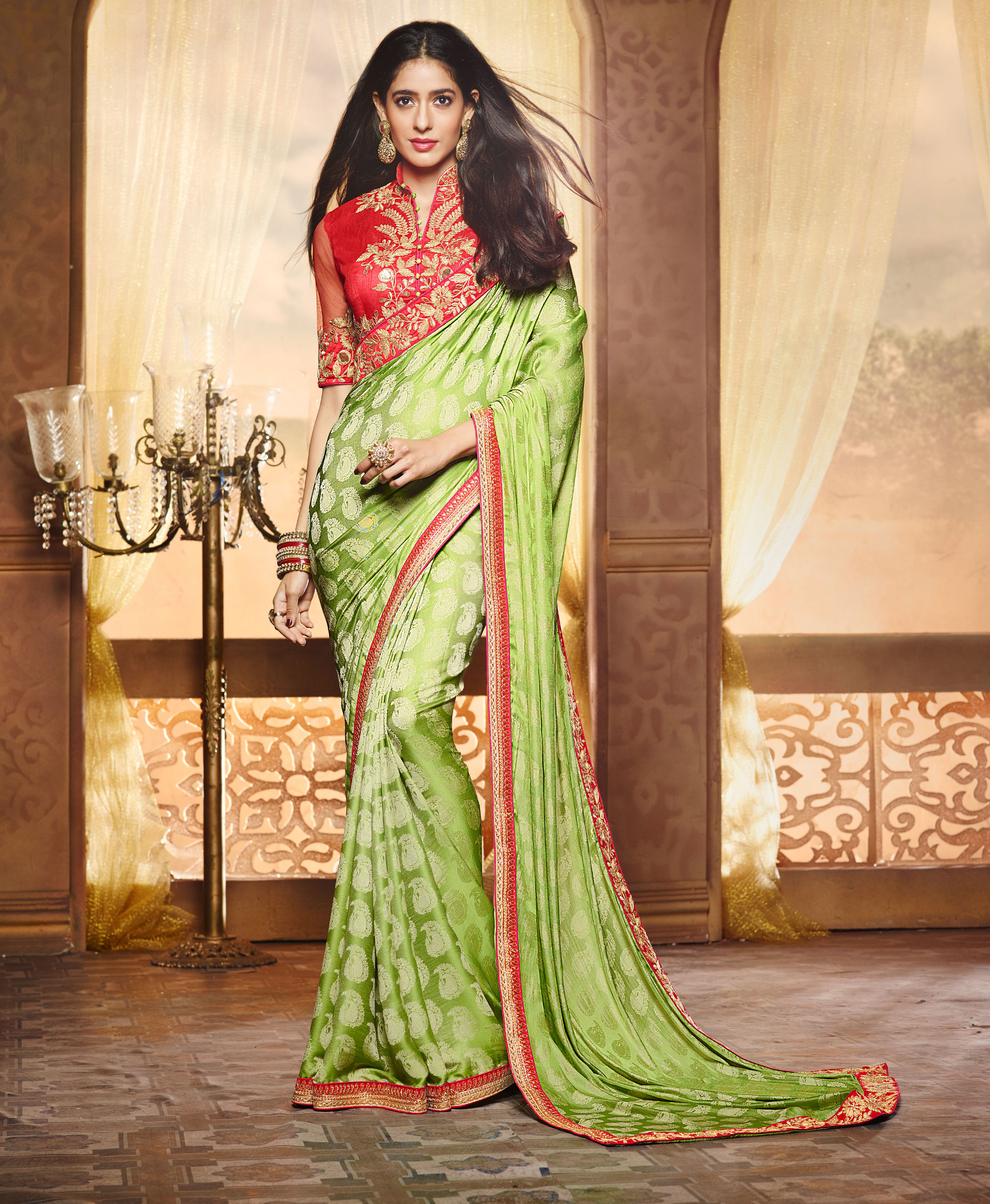 ralsaree Real Saree Women's Green Pure Silk Jacquard Embroidered Saree With Blouse
