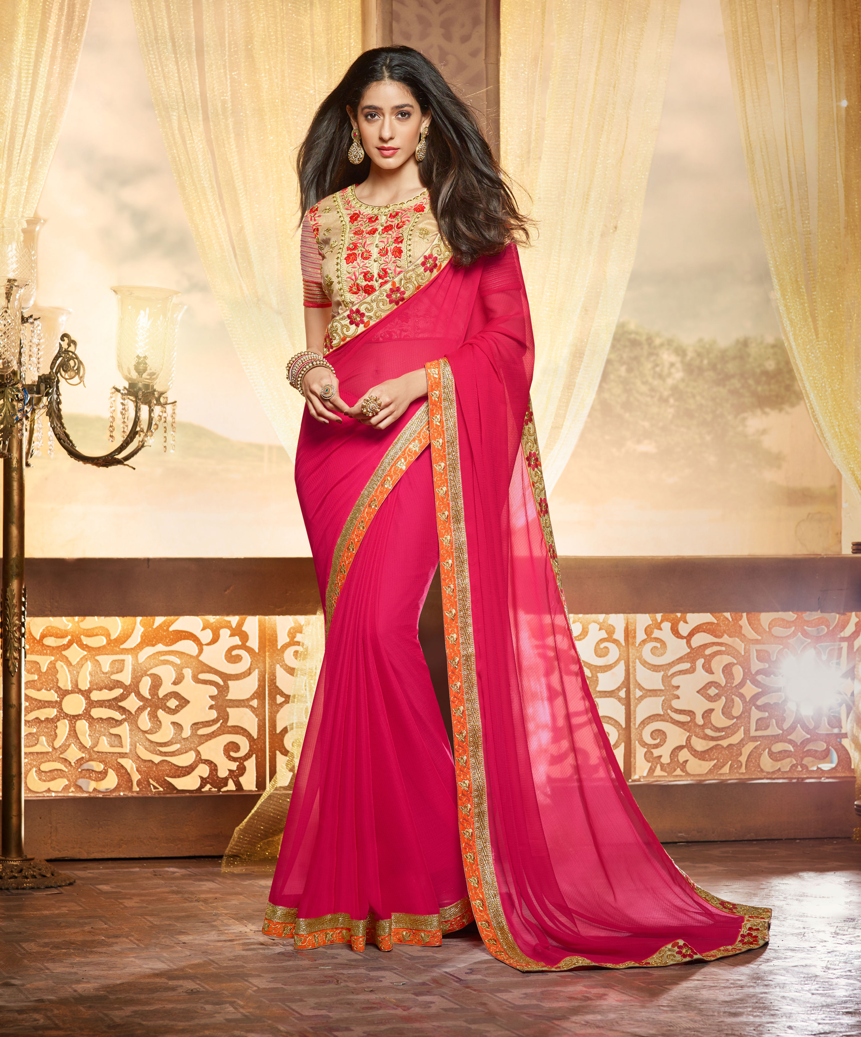 ralsaree Real Saree Women's Pink Soft Chiffon Embroidered Saree With Blouse