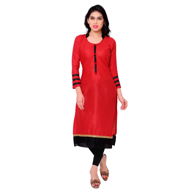 kachhadiyaenterprise Red  Cotton Collar Kurti