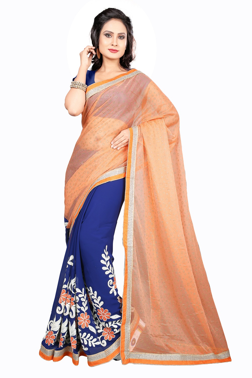 uniqueclub Unique Fashion Club New Designer Orange Colore Chain Stitch Embroidered Work Saree With Unstiched Blouse