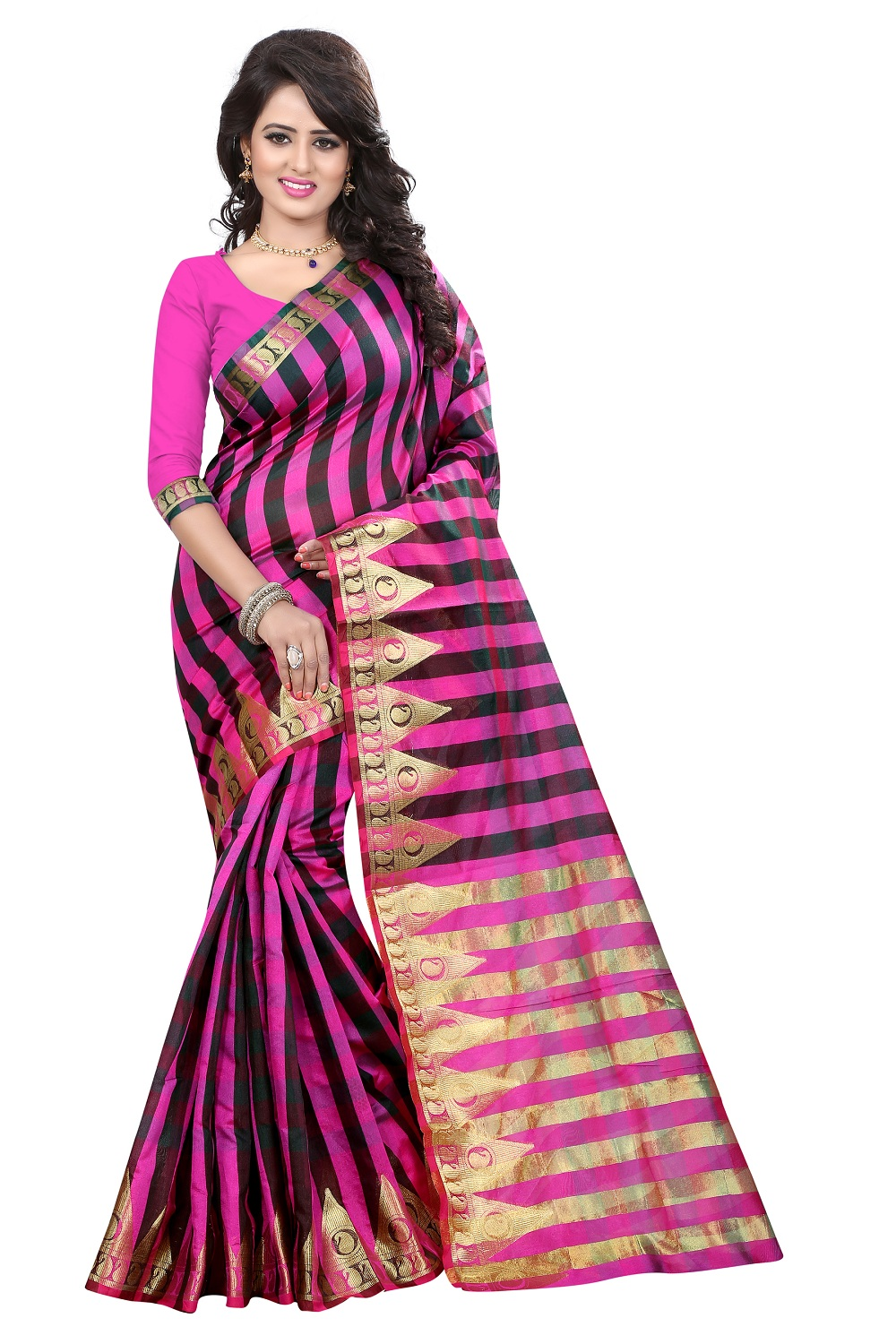 uniqueclub Density Collection Present Brand New Deisgner Pink  Colore  Cotton Silk Saree With Unstitched Blouse