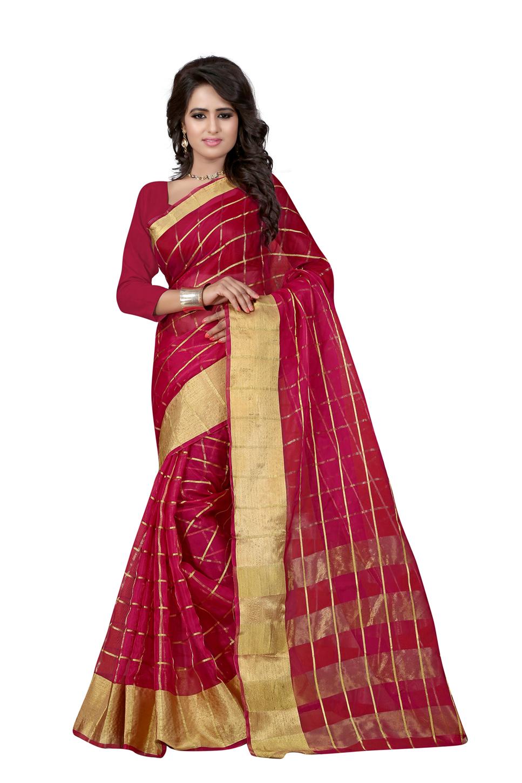 uniqueclub Unique Fashion Club Present New Designer Color: Red Cotton Silk Sarees With Unstiched Blouse Piece