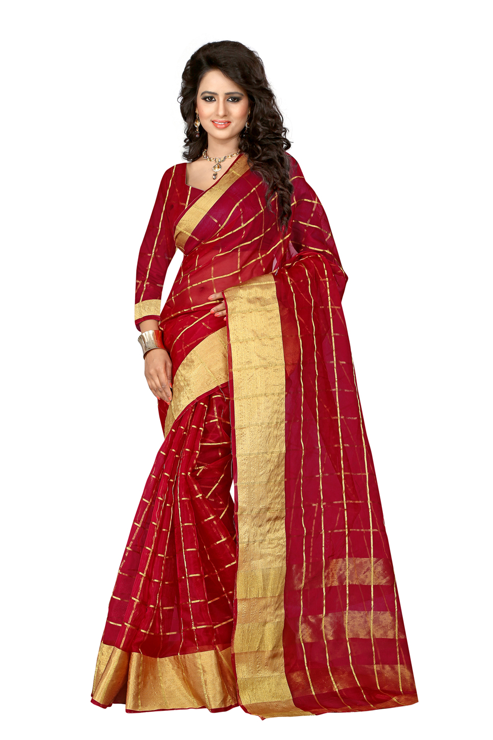 uniqueclub Unique Fashion Club Present New Designer Color: Red Cotton Silk Sarees With Unstiched Blouse Piece