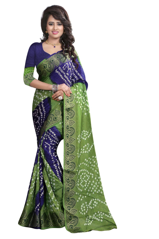 uniqueclub Unique Fashion Club New Designer  Dark Sea Green And Blue Colore Georgette  Bandhani Saree With Unstitched Blouse