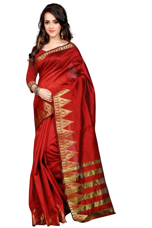 uniqueclub Unique Fashion Club Present New Designer Crimson(red) And Golden  Colore Cotton Silk Saree With Unstiched Blouse Piece