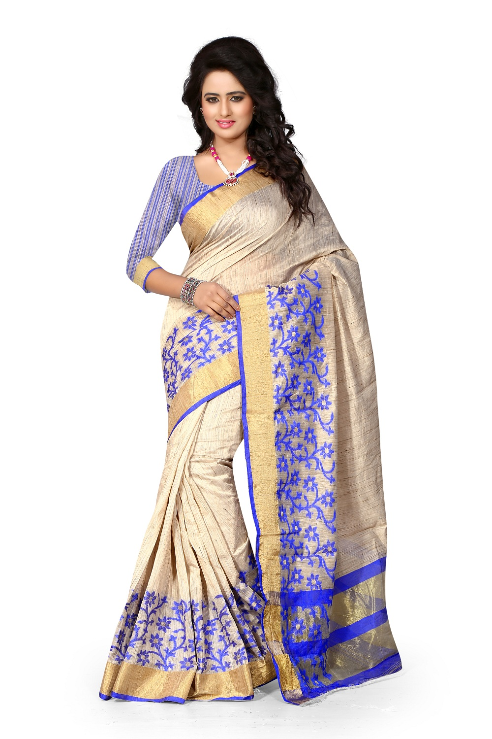 uniqueclub Unique Fashion Club Present New Designer Beige,blue And Golden  Colore Cotton Silk Saree With Unstiched Blouse Piece