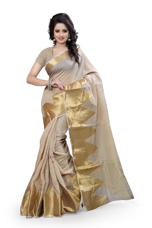 uniqueclub Unique Fashion Club Present New Designer Beige And Golden  Colore Cotton Silk Saree With Unstiched Blouse Piece