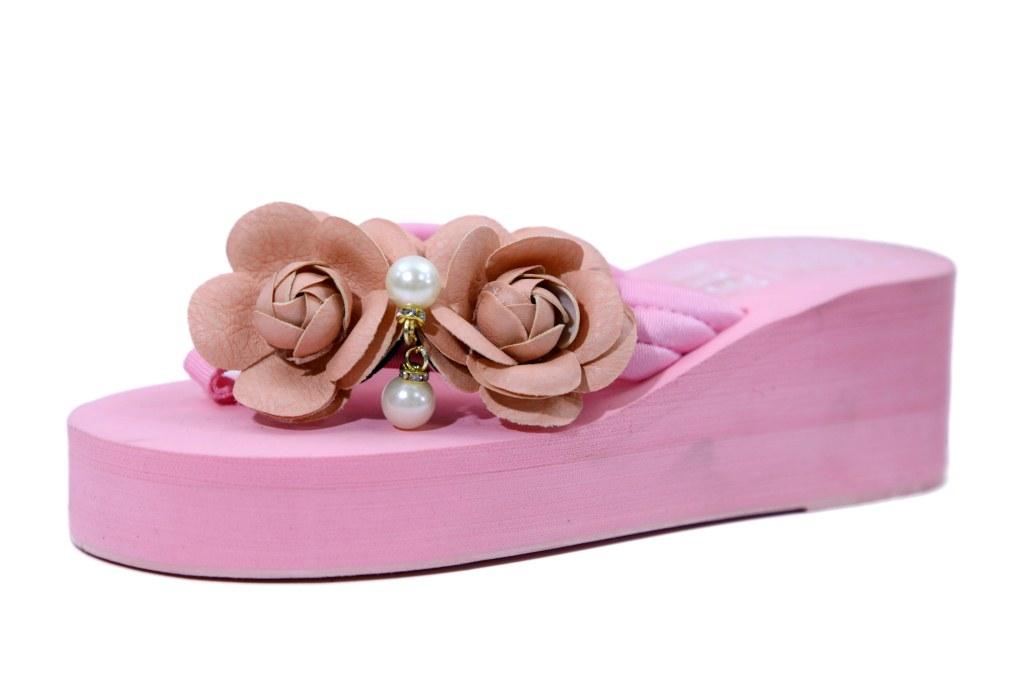 hienbuy Hie'n'buy New Lotus Flower  Wedge Heel Slipper For Girls Pink