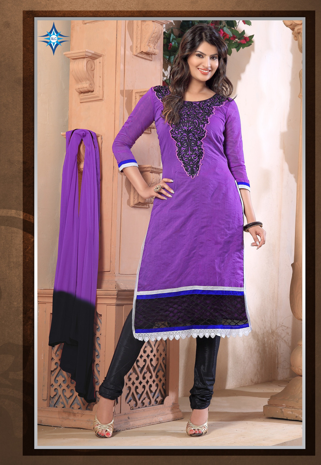 bespecial Be Special Women's Awesome New Embroidered Purple Chanderi Designer Straight Dress Material