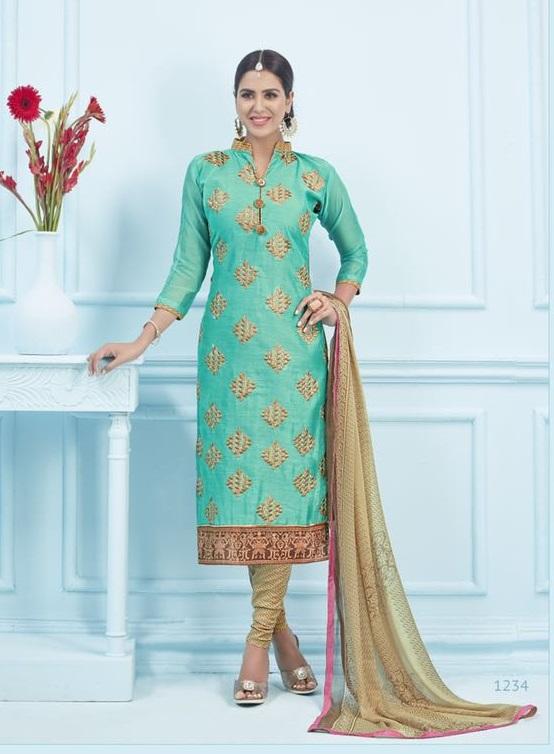 Greenzi Fancy Style Ethinic Dress Material Gz036