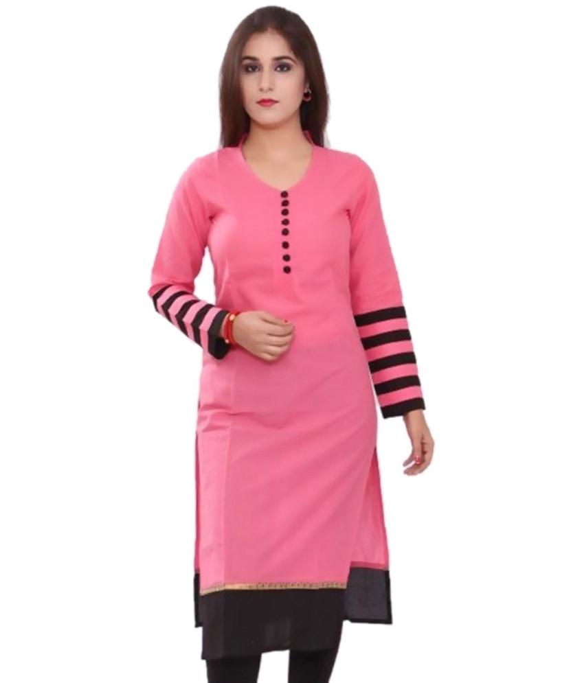 bollywoodfashion Pink Colour Cotton Plain Kurti Collection - 2004